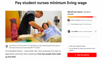 The petition was set up by nursing student John Worth