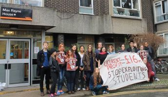 200 students refused to pay their rent for five months in protest.