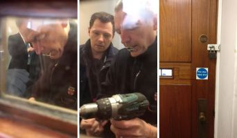 UoL staff were caught on camera drilling bolts and locking students in