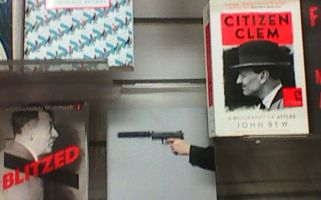 Three books in a shop display created a brilliant whodunnit which made it look like Adolf Hitler was shot by Clement Attlee.