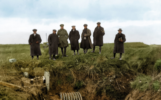 Images of the scenes after the conflict ended have been given a colour update 100 years on.