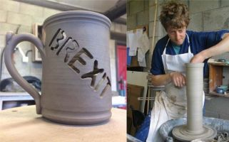 Bentham Pottery's Lee Cartledge says the mug is 'inoffensive way' to explain his feelings on Brexit.